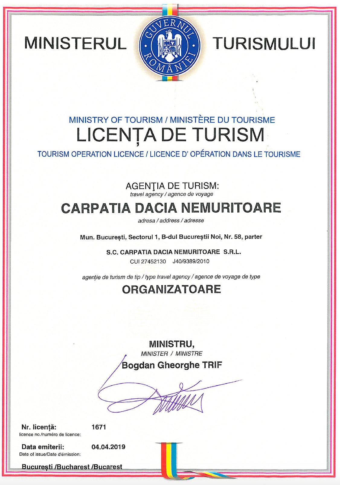 Licenta de turism Carpatia Tour